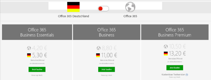 Office365-Pricing DE / Weltweit